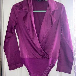 Elegant Royal Purple Long Sleeve Deep V Bodysuit